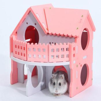 Hamster House Small Colorful Wooden House For Bear Baby Two-layer Environmental Friendly Villa With Balcony Cage For Hamster