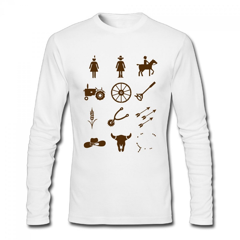 Group Of Country And Western Icons Design Men T Shirt DIY Country Style Men's Tees Long SLeeve
