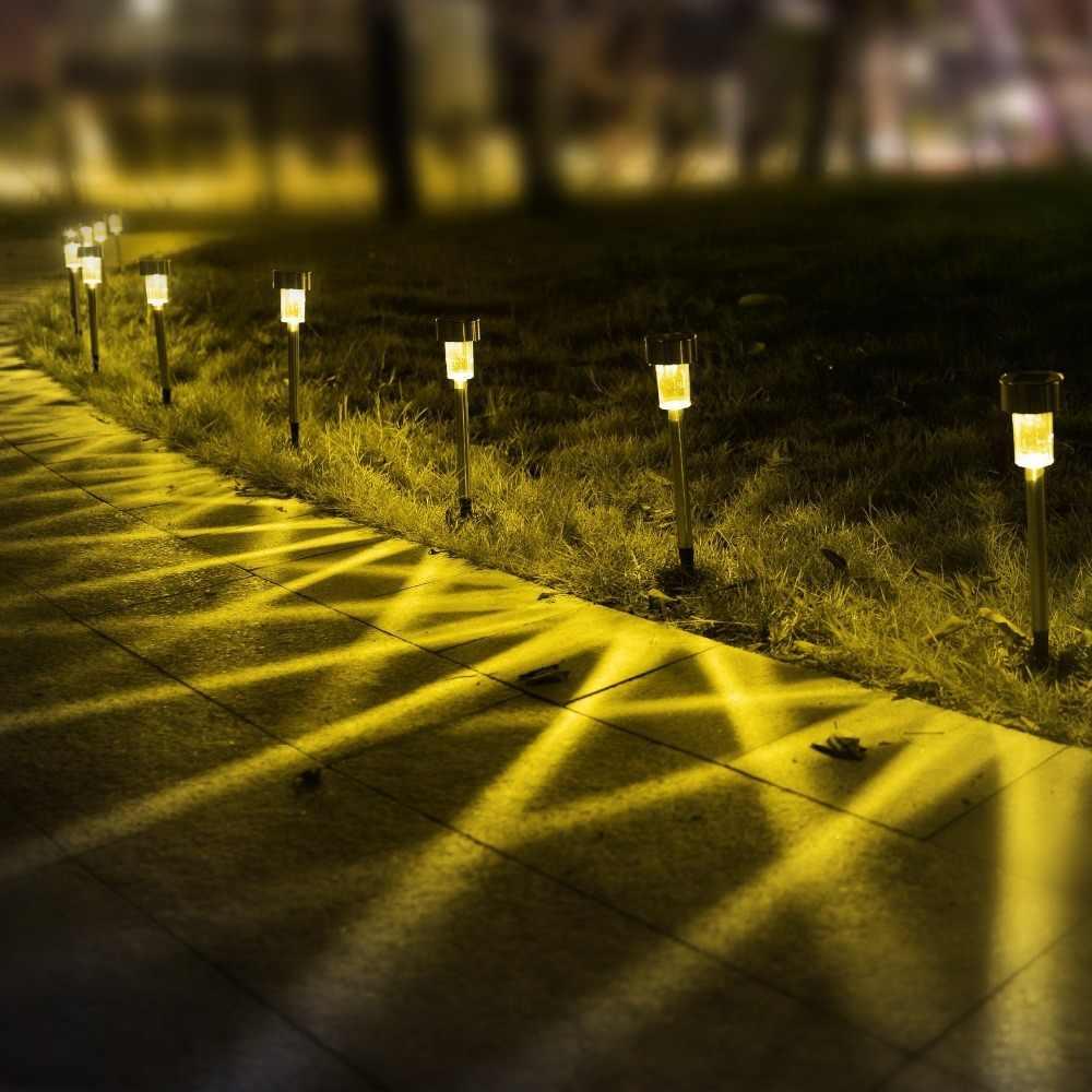 10 шт./3 шт. Солнечный садовый свет без проводов дворовый путь светодиодный светильник Luminaria открытый свет из нержавеющей стали для дорожки на участке украшения