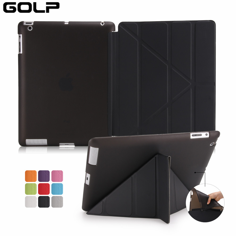 Case For iPad 2 3 4,GOLP Utra Slim PU Leather Covers Multi Folding Magentic Cover Translucent TPU Back Smart Case for iPad 2 3 4 multi function pu leather case vent holes sound amplifier for ipad 3 4 red