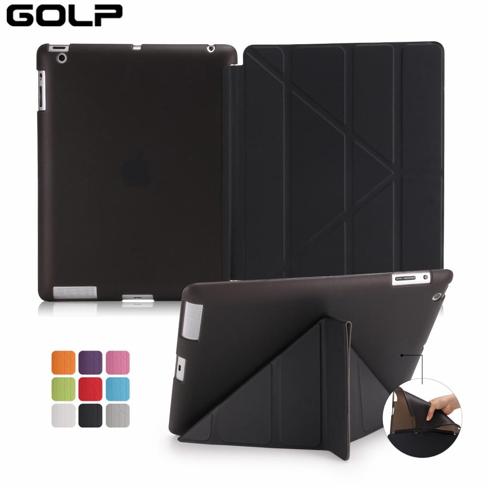 Case For iPad 2 3 4,GOLP Utra Slim PU Leather Covers Multi Folding Magentic Cover Translucent TPU Back Smart Case for iPad 2 3 4