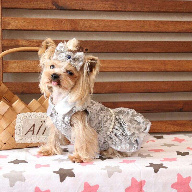 Robes de luxe haut de gamme broderie florale mariage princesse Banquet chien vêtements pour animaux de compagnie Bomei Chihuahua Yorkie Maltese