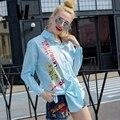 Marca senhoras 2017 nova primavera outono tamanho solta de manga comprida de algodão camisa de todos os match feminino lapela impressão Carta jaqueta