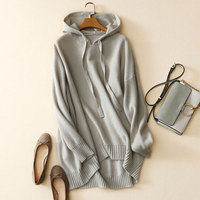 2018 100% Pure Cashmere Sweater Plus Size Women Auatumn Winter Thick Loose Hooded Long Sleeves Women Oversized Pullover Sweater