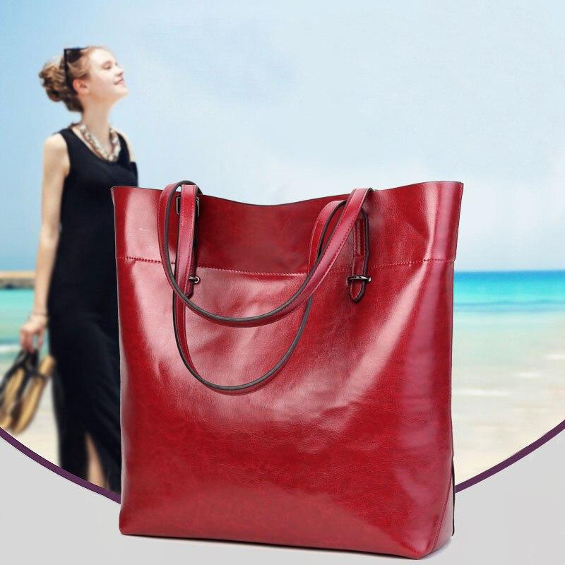 2017 New Women Temperament PU Leather Handbag Female Fashion Casual Large Single Shoulder Bag Simple Tote