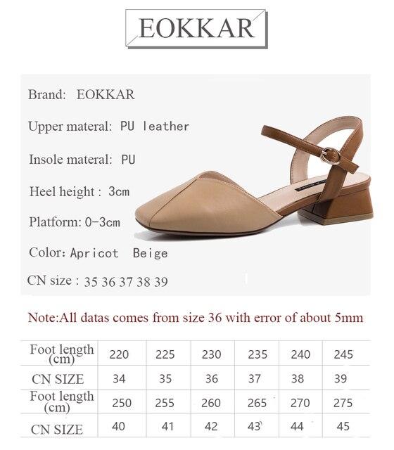 Eokkar 2019 décontracté dames Med talon Mules pompes abricot SqaureToe cheville boucle sangle Chunky talon femmes plate-forme chaussures taille 35-39