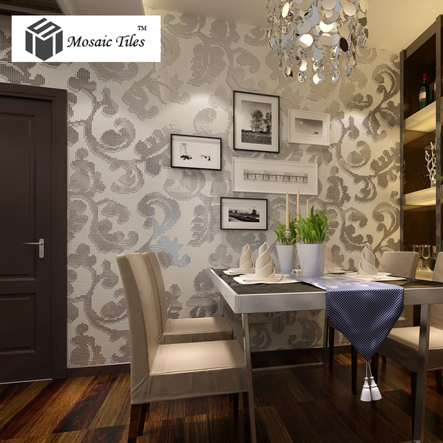 white floral glass tile ivy pattern silver mirror design hotel home bar interior wall ideas shower