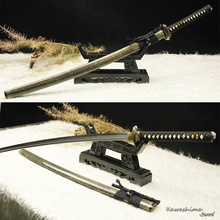 Free shipping Genuine Handmade Samurai Sword T10 Steel Clay-Tempered Real Hamon Japanese Katana White Rayskin Scabbard