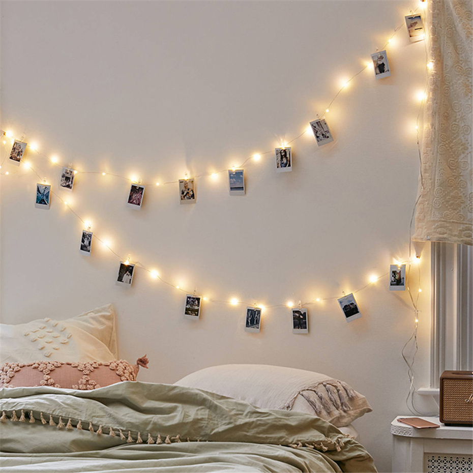 LED Garland With Clothespins Photo Holder Battery Power 5/10M Copper Wire Fairy Light 20/50 Clips Decoration For Christmas Party