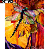 """HOMFUN 5D DIY Diamond Painting Full Square/Round Drill """"Animal Dragonfly"""" Embroidery Cross Stitch gift Home Decor Gift A07839"""