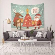 купить Deer Santa Claus Christmas Tapestry 2018 Merry Christmas Wall Hanging snow scene Art Couch Home Decor Blanket Mat 200*150cm по цене 2061.78 рублей