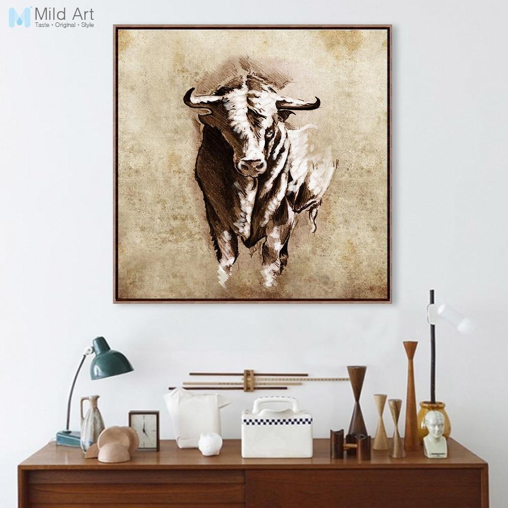 Vintage Retro Tiere Skizze Bull Poster und Drucke Wandkunst Bilder ...