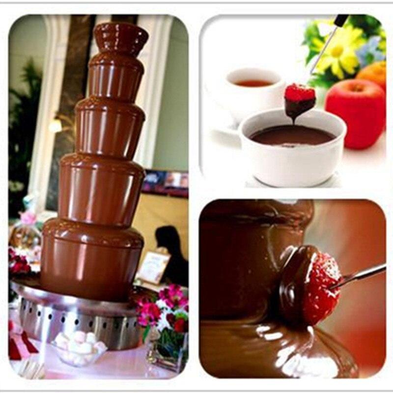 Haute qualité en acier inoxydable fontaine de chocolat machine self fondre 5 tiers mariage de noël chocolat cascade fondue machine
