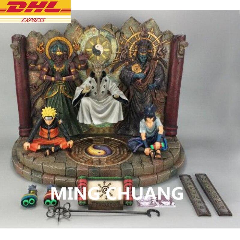 "15.74 ""Statue NARUTO buste Uzumaki Naruto Uchiha Sasuke Ootutuki Hagoromo GK figurine à collectionner modèle jouet 40 CM boîte D810"