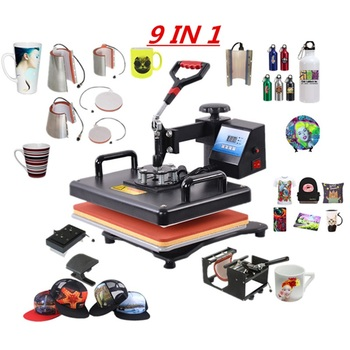Multifunctional 9 in 1 Combo Heat Press Machine Sublimation Heat Press Heat Transfer Printer For Mug/Cap/T shirt/Phone Cases
