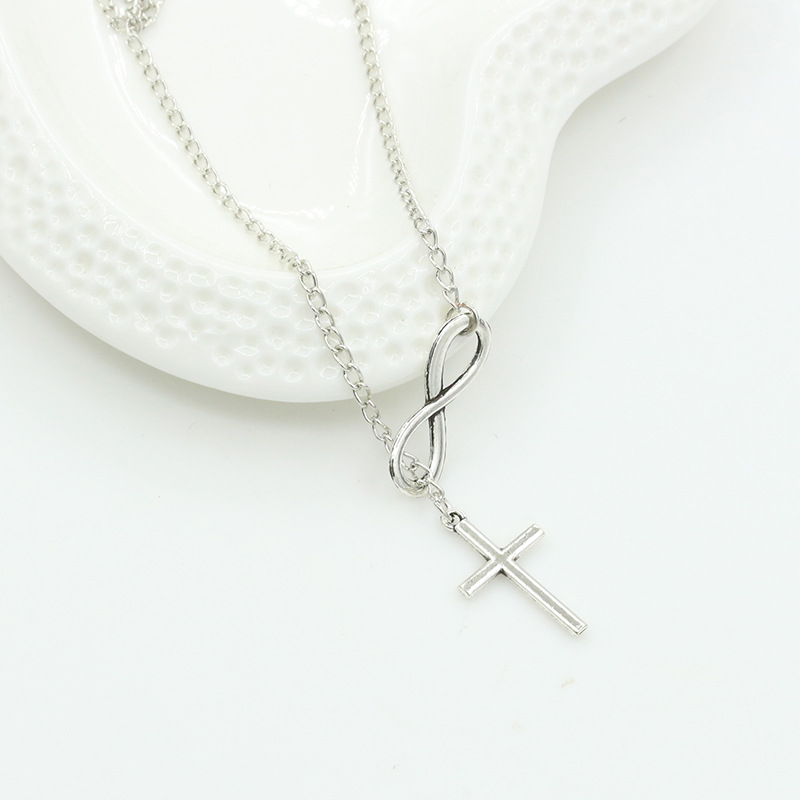 Fashion Silver Color Infinity Cross Long Chain Pendant Women Choker Necklace Collares Necklace Jewelry Girl Gift Accessories