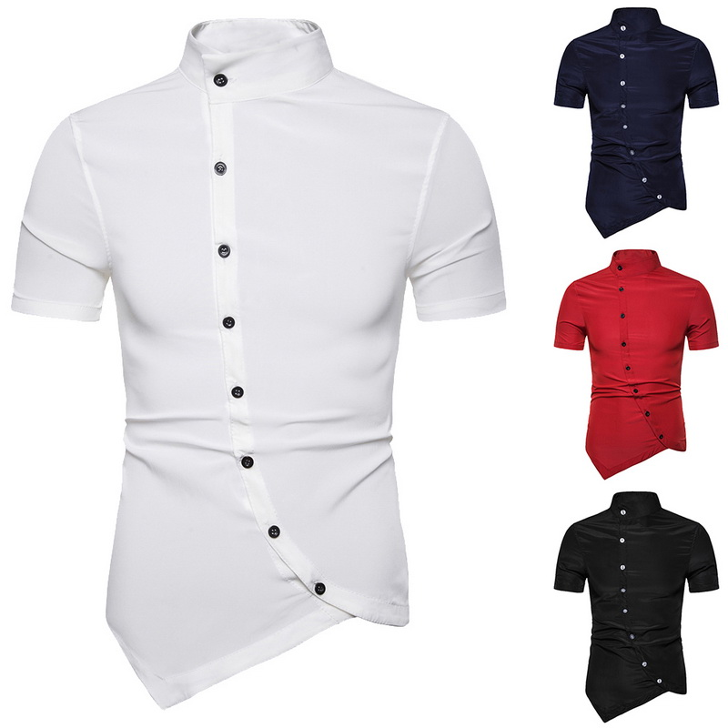 Alion Mens Casual Irregular Hem Solid Color Button Down Dress Shirt