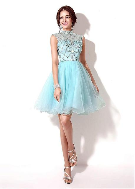 f60a6d70e92 2016 Glamorous Light Blue Short Mini Quinceanera Dresses Sparkly Crystal  Sequins Beading Tulle A-Line Prom Homecoming Gown