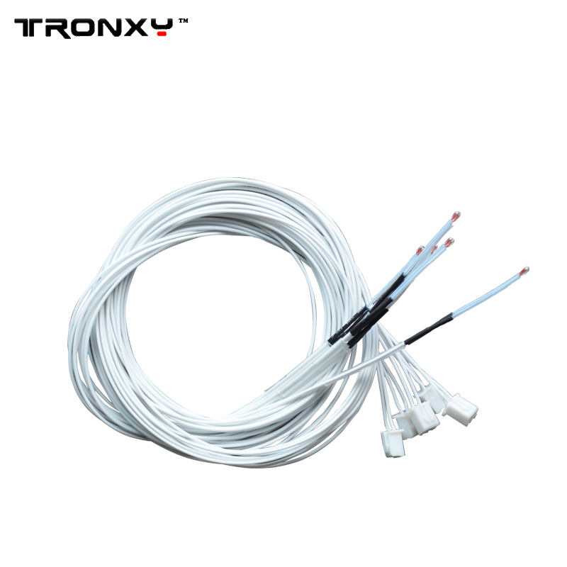 TRONXY 5pcs/lot 100K NTC 3950 Single-ended Glass Sealed Thermistor Temperature Sensor Terminal 1.2m 1.5m 2m Cable For 3D Printer