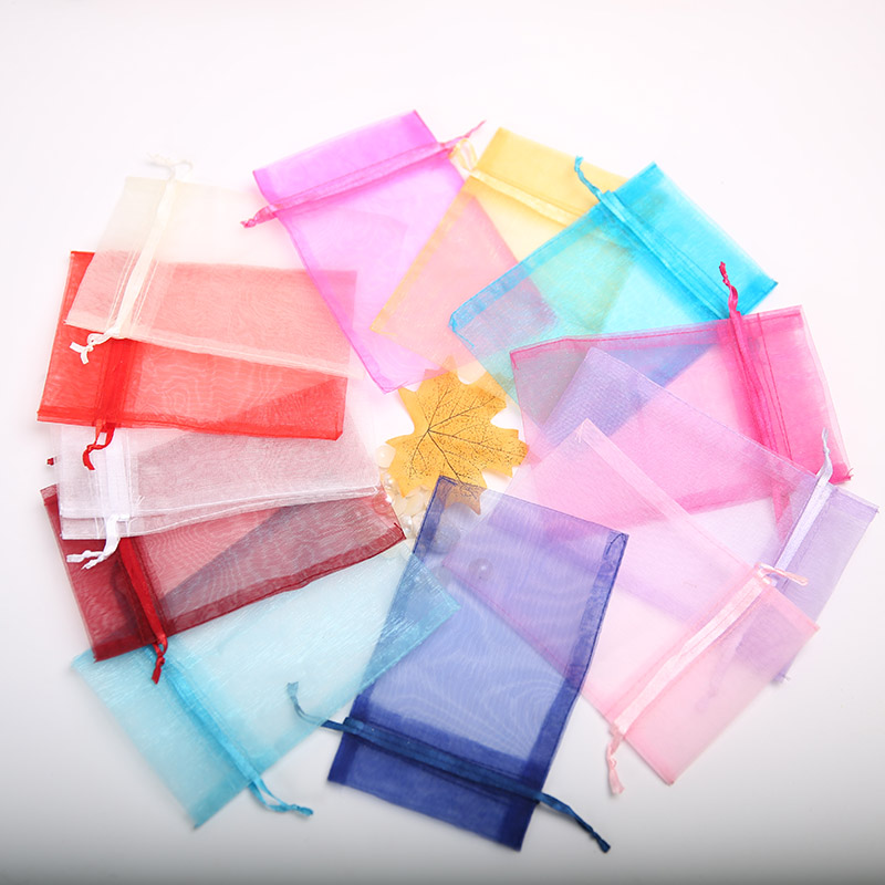 100Pcs 13 18Cm Organza Candy Bag Wedding Decoration Jewelry Gifts For Guests Party Christmas Halloween Pouch