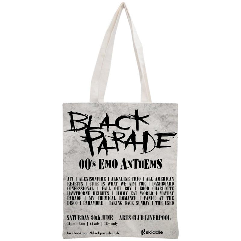 Custom My Chemical Romance Tote Bag Reusable Handbag Women Shoulder Foldable Canvas Shopping Bags Customize your image tote bag
