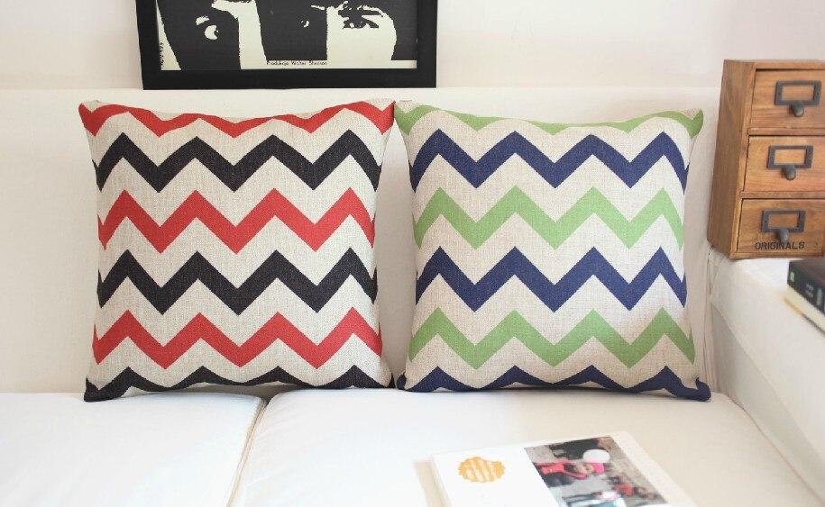 Simple Two-color Curve Cotton Pillow Cushion   Wavy Lines Linen Pillow Home Decor Sofa Cushions 45*45cm 2PCS/LOT