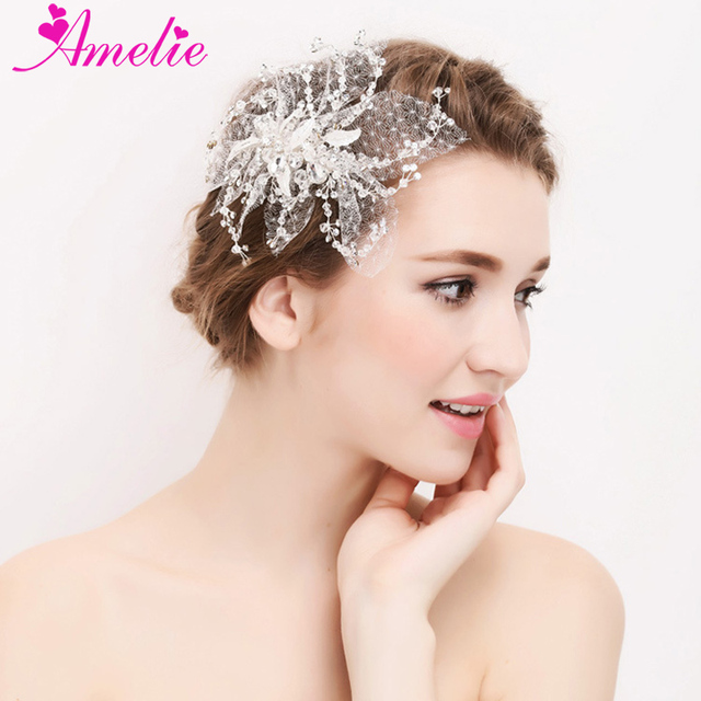 Amelie Handmade Rhinestone With Tulle Bridal Hair Accessories Wedding Decoration Clip S Party Side