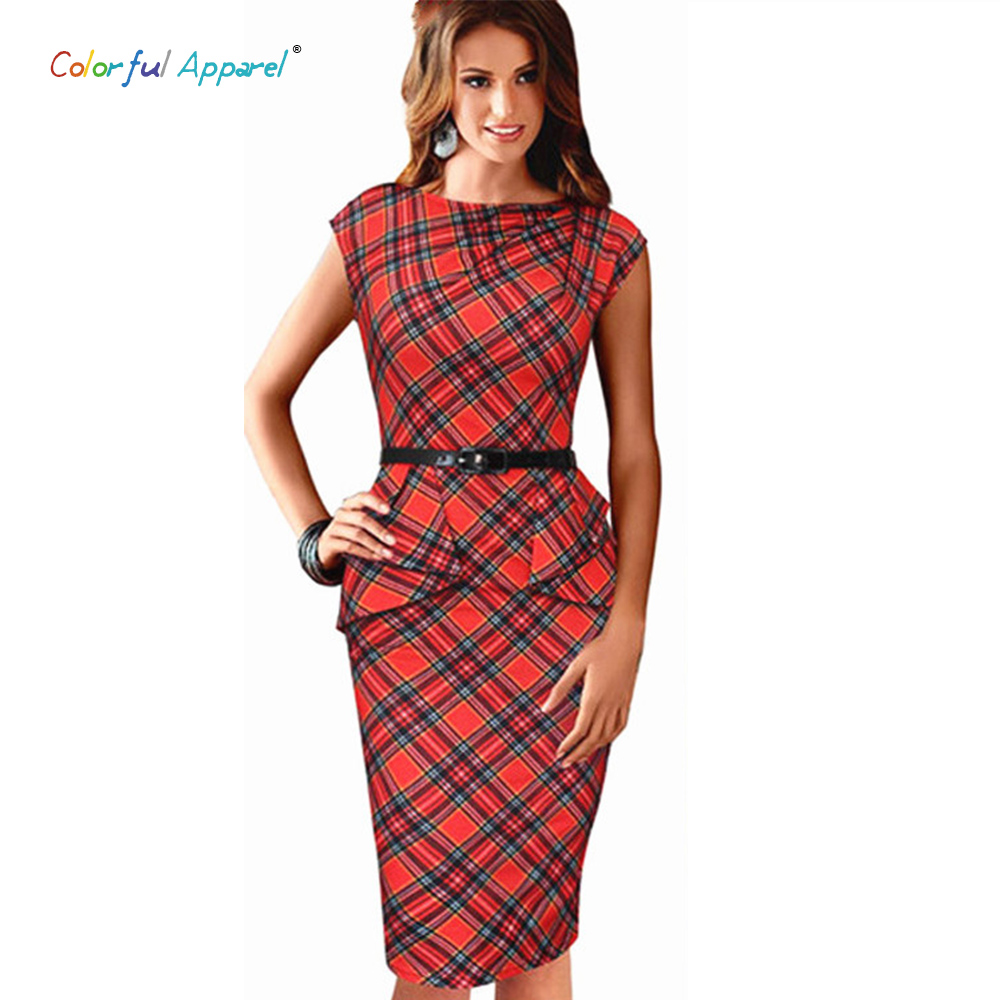 Colorful Apparel Womens Vintage Elegant Belted font b Tartan b font Peplum Ruched Tunic Work Party