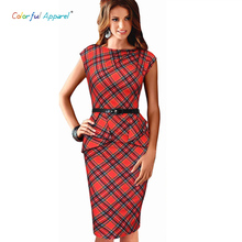 Colorful Apparel Womens Vintage Elegant Belted Tartan Peplum Ruched Tunic Work Party Cap Sleeve Bodycon Sheath Dress CA240A