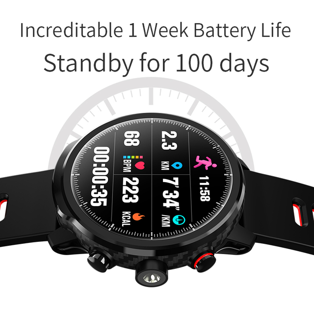"""Slimy L5 Smart Watch Standby for 100 Days 1.3"""" IP68 Waterproof Swimming Smartwatch Support Led Lighting Message Call Reminder 5"""