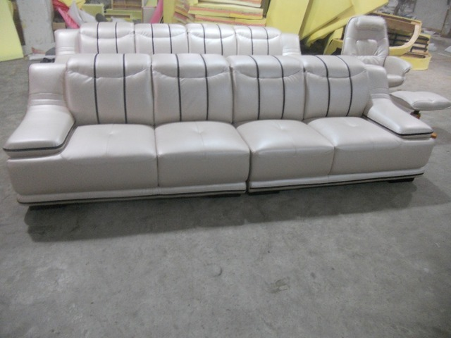 Contemporary Furniture Ivory Leather Living Room Sofas 4 Seater Designer Modern Style Top Graded Cow