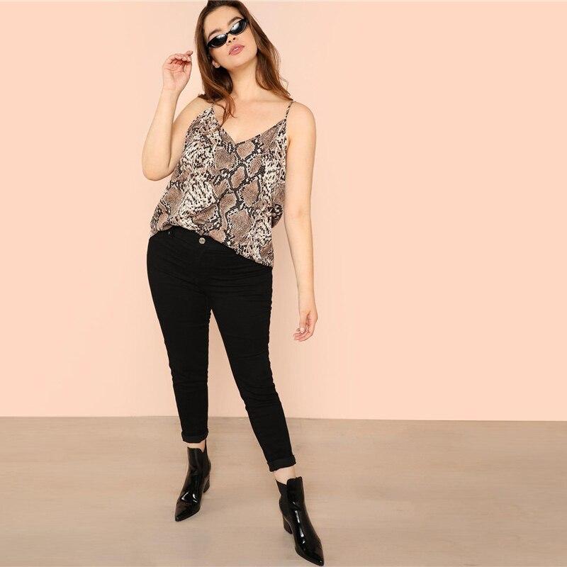 7a20d30fdd6c5d 2019 SHEIN Plus Size Snake Skin High Street Women Camis Sleeveless ...
