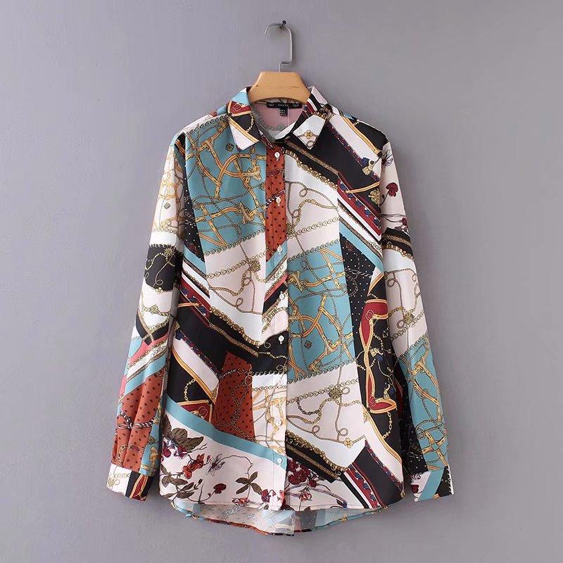 Women Vintage Chain Patchwork Print Smock Shirt Blouses Women Business Casual Femininas Blusas Long Sleeve Retro Tops LS2562