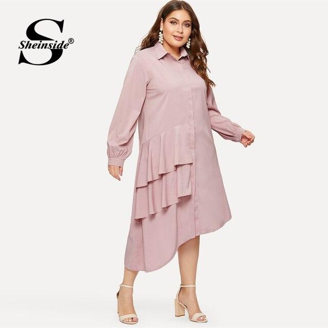 Sheinside Plus Size Pink Casual Ruffle Detail Shirt Dress Women 2019 Spring Asymmetrical Hem Midi Dresses Ladies Straight Dress 3