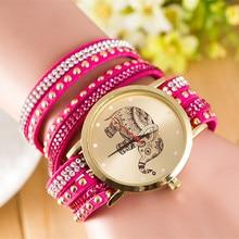 2016 New Rivet punk watches women dress casual analog elephant Bracelet leather ladies clocks AC041
