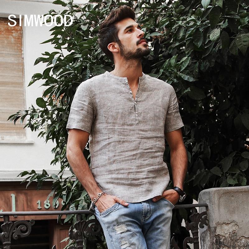 Simwood 2019 قمصان الصيف الرجال 100٪ الكتان النقي السراويل كم مخطط يتأهل هنري طوق قمم ماركة الملابس CD017004