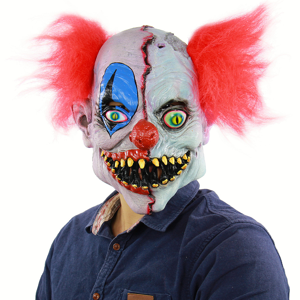 Scary Latex Horror Clown Mask Halloween Ghost Bars Men red hair Props Weird Masks For Party