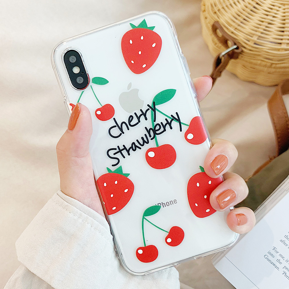 KIPX1106A_1_JONSNOW Clear Soft Case For iPhone 6S 7 8 Plus X XR XS Max Delicious Fruit Pattern Ultra-thin Transparent Silicone Back Cover