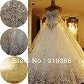 Frete grátis 2013 vestido de baile Real feita catedral trem querida vestido de casamento de luxo com cristais 9127