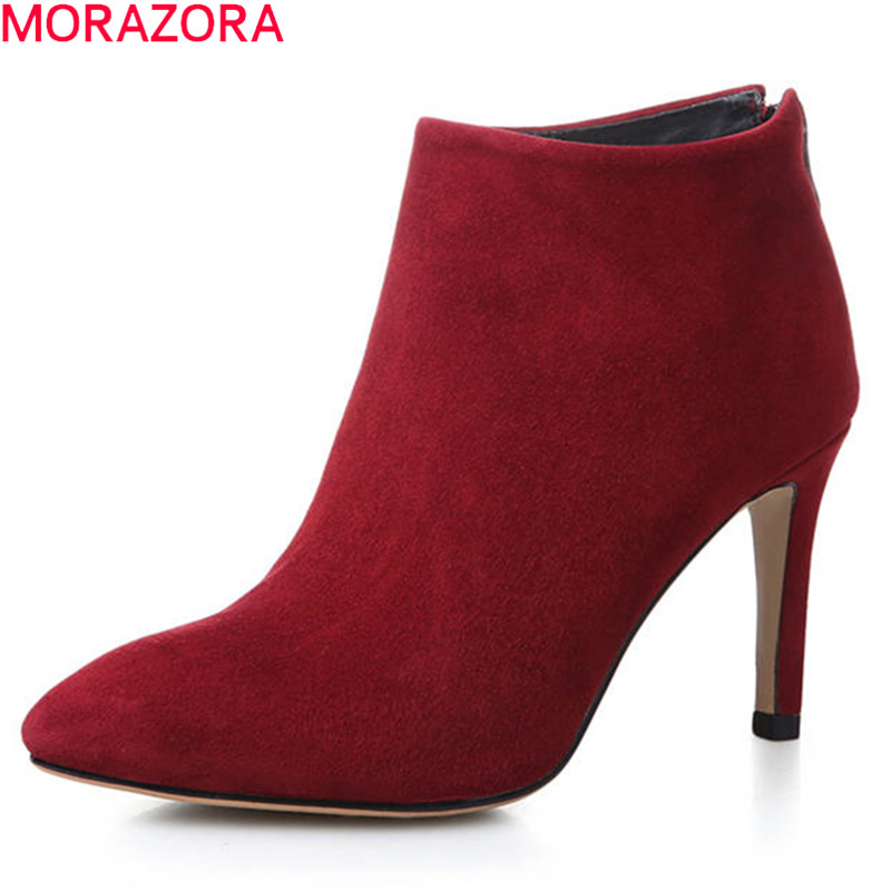 MORAZORA 2018 new fashion autumn winter shoes woman pointed toe cow suede leather lady boots sexy thin high heels shoes womanMORAZORA 2018 new fashion autumn winter shoes woman pointed toe cow suede leather lady boots sexy thin high heels shoes woman