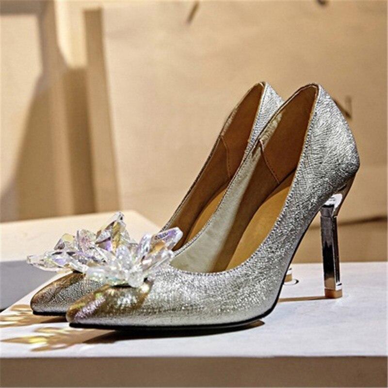 Cinderella 43 Drfargo Größe Schuhe High Frühling Kristall 973410 Frauen Braut Hochzeit Pumpen Heel Spitz Strass f6Xqx6wrOH