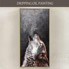 Artist Pure Hand-painted High Quality Realist Animal Wolf Head Oil Painting on Canvas Howl for Living Room