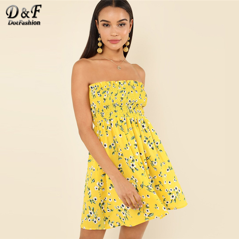 Dotfashion Yellow Flower Print Frilled Smock Dress Women Clothing Summer Vacation Female Strapless Sleeveless Beach Short Dress