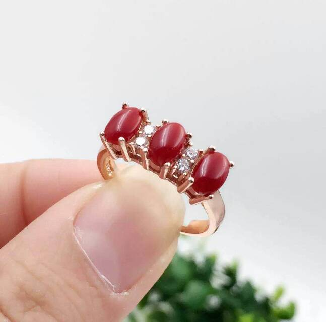 Natural red coral ring Natural gemstone ring S925 sterling silver ring trendy Elegant array for women party gift Jewelry