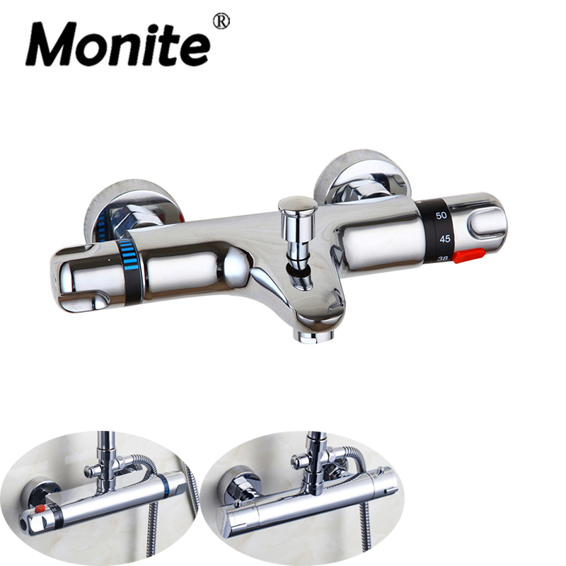Wall Mounted Bathroom Thermostatic Mixer Taps Chrome Brass Bathtub Sink Basin Faucet Set Exposed Shower Faucet