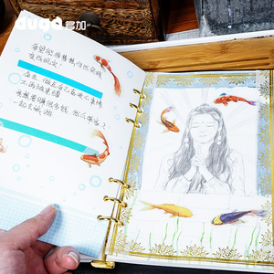 Image 2 - Agenda Kawaii Koi Notebook Cartoon Animal Journal planificador diario cubierta de tela Bloc de notas Bullet diario libro para niños regalo