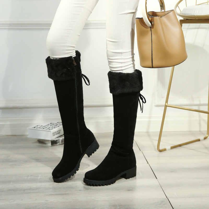 Kadın Akın Kar Botları Kalın Düşük Topuk Diz Yüksek Çizmeler Platformu Fermuar Kış sıcak Peluş Bayanlar Ayakkabı Sarı Siyah