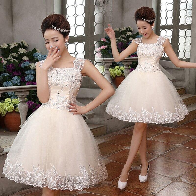Short Bride Dress Champagne Tank Double Shoulder For Wedding Party