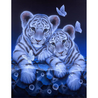 New Full Diamond Embroidery Tiger 5D Diy Diamond Painting Full Drill Round Diamond Mosaic Animals Home
