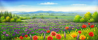 HandPainted Flower Oil Painting on Canvas Beautiful Purple Flower Field Scenery Painting Wall Picture Painting for Living Room